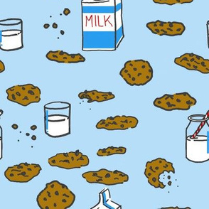 Cookies and Milk on Blue