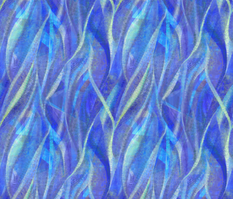 Abstract ribbons in blue and lime fabric by wren_leyland on Spoonflower - custom fabric