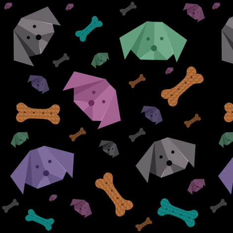 Origami pups fabric by redthanet on Spoonflower - custom fabric