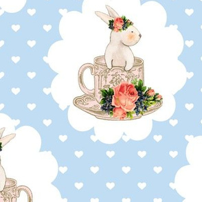 Teacups and Bunnies Blue Hearts Easter