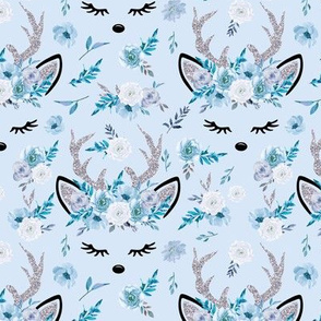 Winter Reindeer on Ice Blue Watercolor Floral
