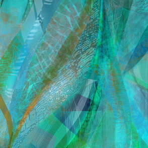 abstract ribbons - blue-aqua gold