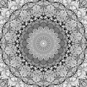 Project 632 | Black and White Zentangle Mandala