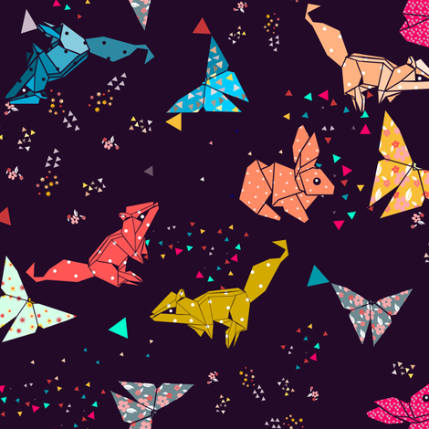 squirrel bunny and butterflies fabric by gomboc on Spoonflower - custom fabric