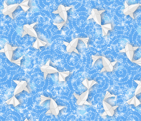 Origami Koi Fishes (Sky-Pond Version) fabric by boissindesign on Spoonflower - custom fabric