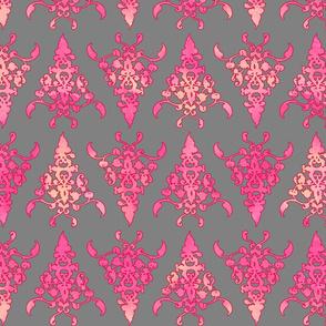 arabesque doodle pattern on dark grey