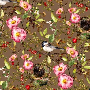 chickadee with nest watercolor on brown