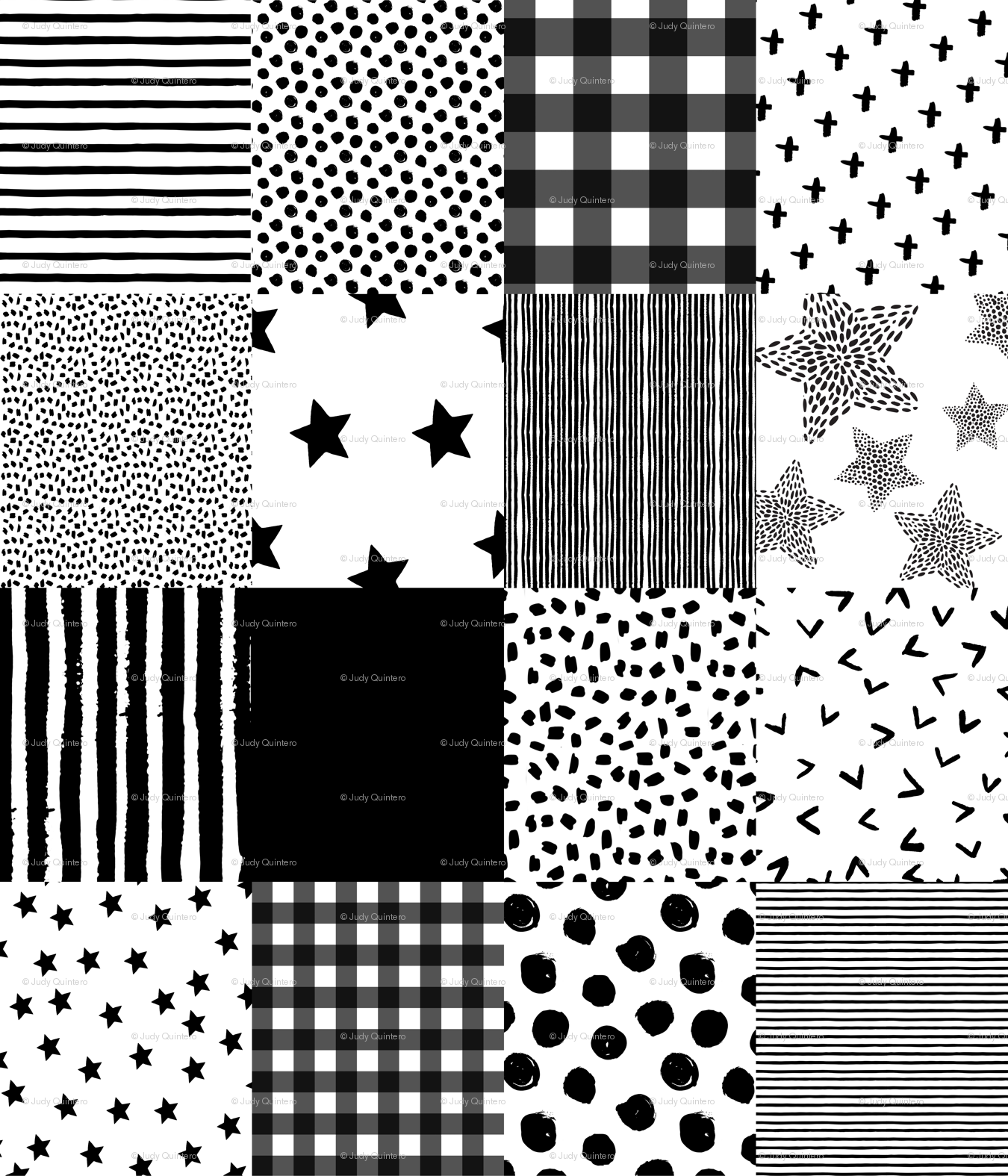 Cheater Quilt Fabric Black And White