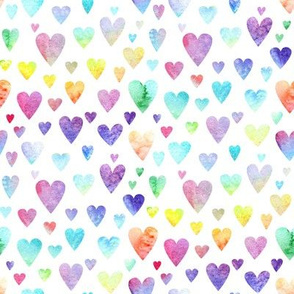 Watercolour Rainbow Hearts #1
