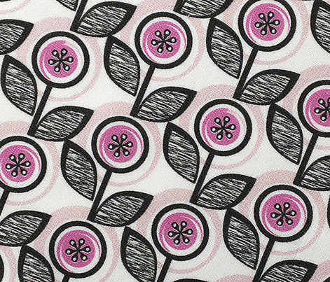 Footnote Flower* (Pink Liza) || midcentury modern garden floral flowers leaves nature spring summer upholstery