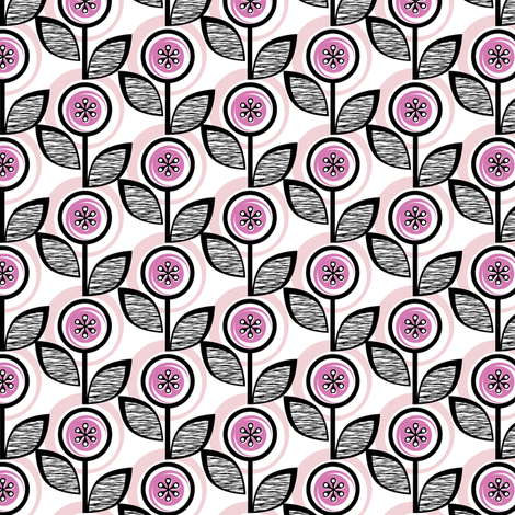 Footnote Flower* (Pink Liza) || midcentury modern garden floral flowers leaves nature spring summer upholstery fabric by pennycandy on Spoonflower - custom fabric