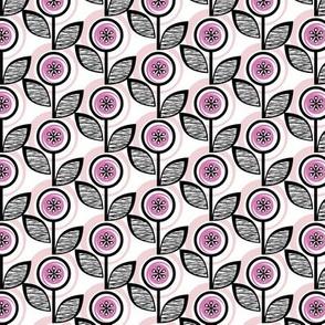 Footnote Flower* (Pink Liza) || midcentury modern garden floral flowers leaves nature spring summer upholstery