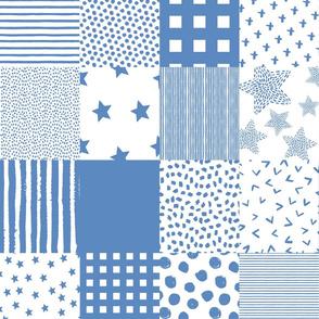 "21"" Darker Blue Whole Cloth / Cheater Quilt"