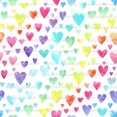 Watercolour Rainbow Hearts #2
