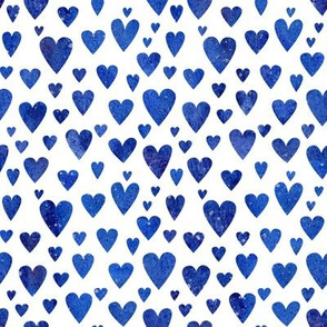 Watercolour Hearts - blue
