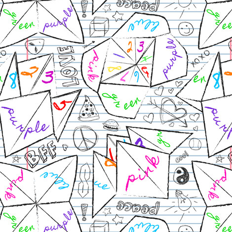 90's Notebook Origami Fortune Tellers fabric by elliottdesignfactory on Spoonflower - custom fabric