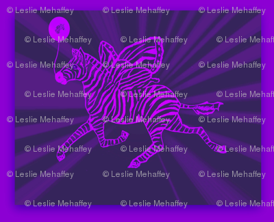 zebra fly in purple with zebra balloon