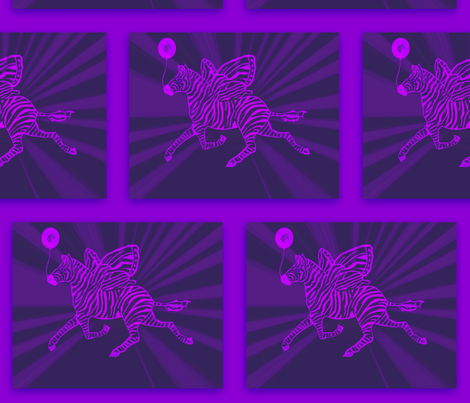 zebra fly in purple with zebra balloon  fabric by lazella_rosetta on Spoonflower - custom fabric