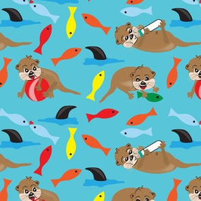 Playful Ollie, Children's fabric, Otters, Fish, Shark, Mammals