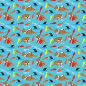 Playful Ollie, Children's fabric, Otters, Fish, Shark, Mammals