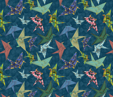 Washi Origami Cranes fabric by dancingbirdstudio on Spoonflower - custom fabric