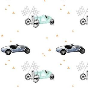Vintage Roadsters Race Cars Blue & Mint