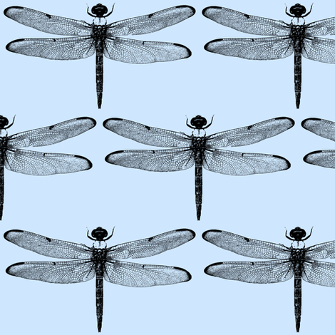 Dragonflies on Blue // Large fabric by thinlinetextiles on Spoonflower - custom fabric