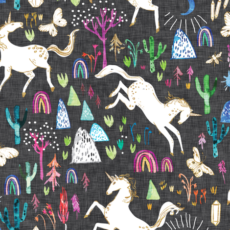 Unicornicopia (midnight) fabric by nouveau_bohemian on Spoonflower - custom fabric