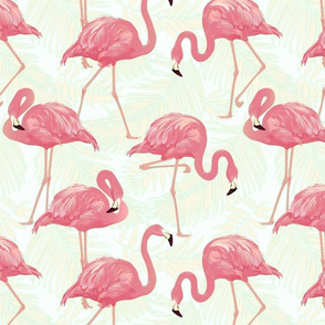 flamingo-bird-and-tropical-palm-background-seamless-pattern-vector_10083-8