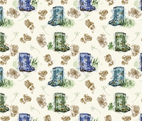 Muddy Boots fabric by ladybirds_and_lambs on Spoonflower - custom fabric