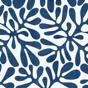 Navy and White Block Print with Linen