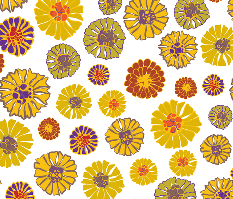 Marigold Mustard fabric by sarah_nussbaumer on Spoonflower - custom fabric