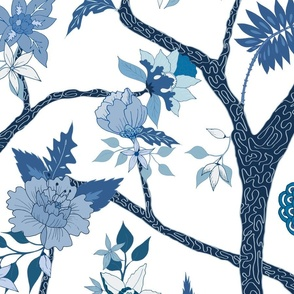 Peony Branch Mural in Blues