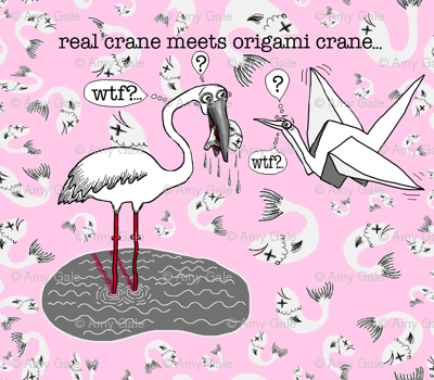 real crane meets origami crane, large scale