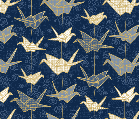 Sadako's Good Luck Cranes fabric by marketa_stengl on Spoonflower - custom fabric