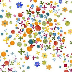 happy daisy dot watercolor on white