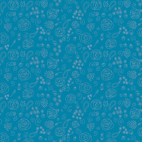 flower fabric pattern-blue and pink