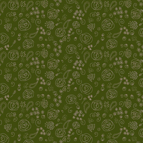 flower fabric pattern-green and pink