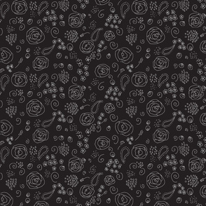 flower fabric pattern-white on black