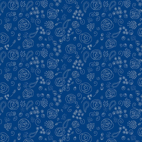 flower fabric pattern-white on blue