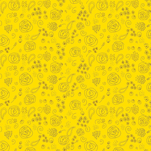 flower fabric pattern-brown on yellow