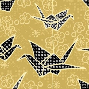 Black and Gold Japanese Origami Cranes