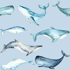 Watercolor Whales // Light Blue