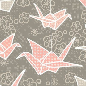 Tan and Blush Origami Cranes and Cherry Blossoms