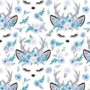 Winter Reindeer Floral Ice Blue