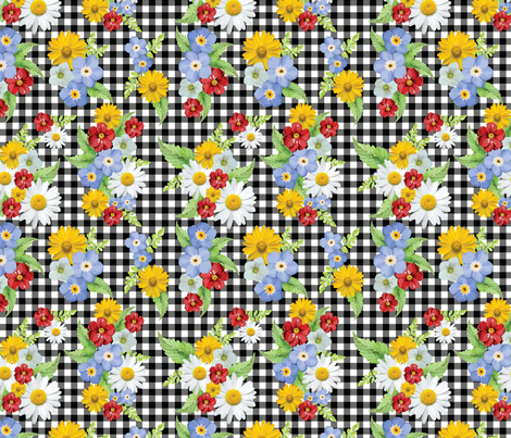 Black and White Gingham Summer Floral  Yellow and Red fabric by twodreamsshop on Spoonflower - custom fabric