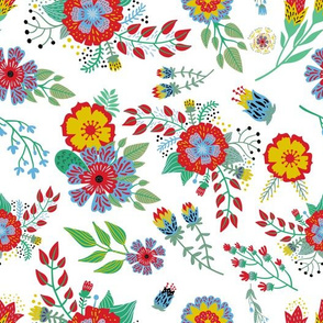 Mustard Yellow and Red Summer Floral