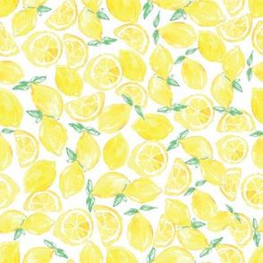 Watercolor Lemons on White
