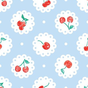 Vintage Red Cherries on Blue Doily