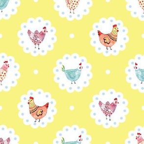 Colorful Chickens Doily Yellow Polka Dots